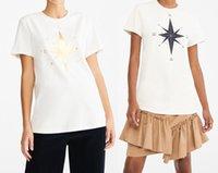 Women's Hoodies & Sweatshirts Camiseta feminina de manga curta com estampa bússola e estrela, 21, verão RF67