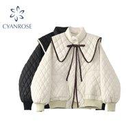 Vintage Peter Pan Collier Solid Down Jacket Femmes Winter Coréen Elegant Oversize Parkas Épais Couteau chaud Femme Chic Outwear 210417