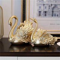 Nordic Creative Resin Gold Swan Swan Пара ремесел украшения современные дома украшения аксессуары статуэтки рождественский подарок домашний декор 1370 v2
