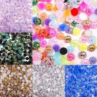 4mm Reçine Kristal Rhinestone Renkli AB Yuvarlak Çiçek Flatback Strass Elmas Taşlar için Nail Art Manikür Dekorasyon 2000 adet Süslemeleri