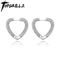 Stud TOPGRILLZ Heart Earrings Iced Out Micro Pave Cubic Zirconia Push-back Hip Hop Rock Fashion Jewelry For Gift Men Women