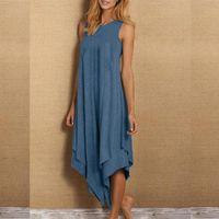 Casual Dresses Irregular Loose Long Dress Woman Sleeveless Solid Color For Women O Neck Beach Elegant Sundress Plus Size Vestido