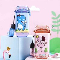 Cartoon Children Water Bottle 280ml with Rope Portable Square Kettle Sealed Leak-Proof BPA Free Tritan Baby Milk Cup With Straw 210907