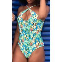 Women Swimming Costume Sleeveless Backless Padded Swimsuits Monokini One Piece Swimwear 2021 Beach Holiday Floral Printed Bikini One-Piece S