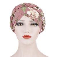 2020 Boemia stampa musulmana sciarpa turbante per le donne islamiche hijab berretti arabo avvolgente sciarpe femme musulman turbante mujer 732 t2