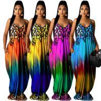 Kadın rahat uzun maxi elbiseler yaz gradyan leopar baskı elbise vintage tatil tatil plaj elbise