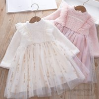 Girls pearls sequins diamond princess dresses kids snow printed lace tulle dress children falbala fly sleeve party clothing Q2540
