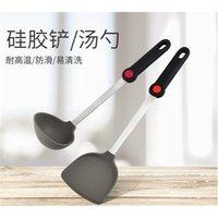 Ponto alto utensílios de aço inoxidável de aço inoxidável temperatura resistente à colher resistente não vara de silicone espátula utensílios de cozinha