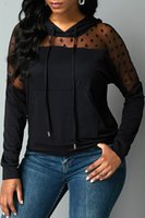New style Tees plus size women's clothing knit see-through top, mesh stitching hoodie Ms Tops & Tees
