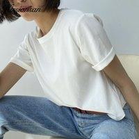 Hirsionsan 100% Baumwolle übergroße T-shirt Frauen Harajuku Grundlegende Lose Kurzarm T-Shirts Weiche Weibliche Feste Tops Khaki Sommer Jumper