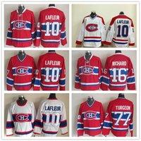 Men Montreal Canadiens 16 Henri Richard Jersey 18 سيرج سافارد 77 بيير تراجون 10 غي لافلور خمر كلاسيكي الهوكي الفانيلة قميص موحدة