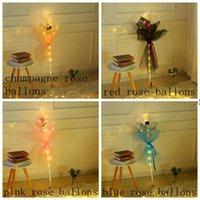 발렌타인 데이 깜박이 빛 장미 꽃다발 LED 풍선 라이트 빛나는 보보 공 풍선 애호가 선물 생일 결혼식 HWF9392