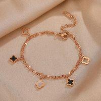 Bracciali per le donne in oro rosa in acciaio in titanio non sbiadito classico selvatico trifoglio trifoglio braccialetto regalo regalo gioielli casual collegamento, catena
