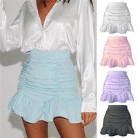 Skirts Short Women Solid A-Line Summer Mini Hem Ruffles Chic Ruched All-Match High Waist Selling Sexy Girls