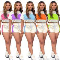 Frauen Trainingsanzüge Sommer 2 Stück Set Mode Splicing Casual Mit Kapuze Shorts Set Designer Cartoon Sport Yoga Hosen Outfits 8706