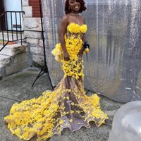 Yellow 3D Flowers Charming Prom Gown Formal Mermaid Evening Party Dress See Through African Pageant Dresses Robe de soiree