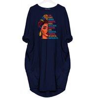 100% Fashion Robe africaine pour femme Pochette Je suis Noir Femme Beautiful Letters Print T-shirt Robes Femmes Top femmes Tops