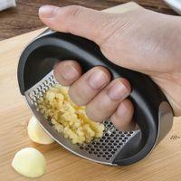 Multi-Function Manual Allic Presser curvado Alho Moagem Slicer Slicer Inflortante Aço Inoxidável Alho Prensas Cozinhar Gadgets Ferramenta AHB6670