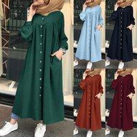 Abiti casual Plus Size Musulmano 2021 Donna Camicia Dress Manica lunga Maxi Vestidos Femmina Bottone Robe High Wasit Solid Sundress