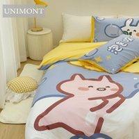 Bedding Sets Cotton Four-Piece Set Cartoon Two-Dimensional Print Bed Linen Quilt Cover Suitable For 1.2M1.5M1.8M