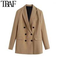TRAF Kadınlar Moda Ofis Kıyafeti Çift Göğüslü Blazers Ceket Vintage Uzun Kollu Cepler Kadın Giyim Şık Tops1