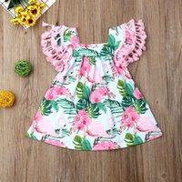 Dresses Newborn Baby Girl Clothes Tassels Fly Sleeve Party Pageant Dress Flamingo Flower Print Casual Sundress