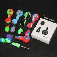 wholesale 4 in 1 14mm smoking silicone pipes silicon dab straw nectar collectors with titanium tips nector collector kit