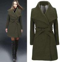 Women's Wool & Blends Womens Long Coat Sleeve Winter Warm Lapel Trench Jackets With Belts Woolen Cardigan Slim Overcoat Plus Size Outwear