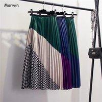 Marwin 2020 Bahar Yeni Coming Europen Renk Eşleştirme Ekose Pileli Etek Yüksek Sokak Stil Orta Buzağı İmparatorluğu Çizgili Kadın Etekler