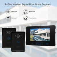 "2,4 GHz Wireless Digital Door Phone Türklingel Intercom System 7 ""TFT Innenüberwachung Outdoor Camera Unlock Control Video-Telefone"