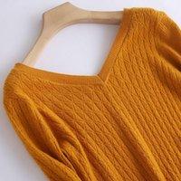 Lhzsyy 2019 가을 겨울 새로운 여성의 순수한 캐시미어 스웨터 패션 더블 V 넥 트위스트 하이 엔드 풀오버 슬림 따뜻한 니트 셔츠 1