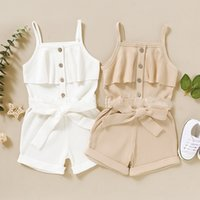 kids Rompers girls Sling Solid color romper children Pit stripe Jumpsuits with Belt Summer fashion Boutique baby clothing Z3432