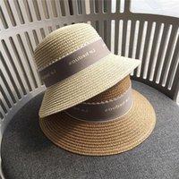 Moda Muchachas Hierba Tejido Sombrero Niños Mujer Carta Casual Sunshine Ocio Caseras de Ocio Adulto Playa Sombreros Niños Piedra Terma Tapa S1015