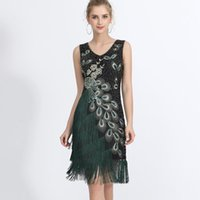 Plus Size Women 1920s Flapper Dress Vintage V-Neck Sleeveless Peacock Embroidery Great Gatsby Sequin Fringe Party Casual Dresses