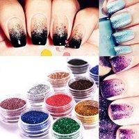 Nail Art Kits 12 Mix Colours Craft Acrylic Fine Metal Glitter Powder Pots-Tips W7T9