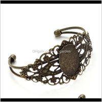 Bracelets Jewelry1 Pcs Bangle 25*18Mm Oval Blanks Trays Bezel Antique Bronze Brass Jewelry Cabochon Cameo Bracelet Blank Findings F3081 Drop