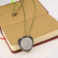 포켓 시계 시계 쿼츠 심장 모양 커플 펜던트 목걸이 매력 선물 칼라 성격 패션 골동품 빈티지 체인