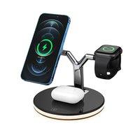 2021 nouveau chargeur sans fil magnétique rapide 15W 3 en 1 MAGSafe avec lampe LED intelligente pour iPhone 12 Pro Max pour smartphone Apple Watch Airpods Pro