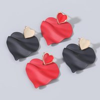 Stud Romantic Paint Pleated Black Red Heart Earrings For Women Fashion Jewelry Boucle Oreille Femme Aretes De Accesorios Mujer 2021