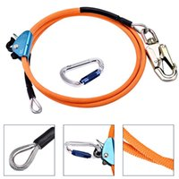 Professional Hand Tool Sets Steel Core Lanyard 1 2 Inch 10Feet Length Wire Flipline System With Climbing Carabiner Swivel Snap Triple Lock