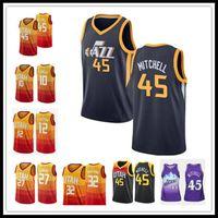 "Livre Utah ""Jazz"" Donovan 45 Mitchell Jersey Mike 10 Conley Rudy 27 Gobert John 32 Malone 12 Stockton Basketball jerseys homens"