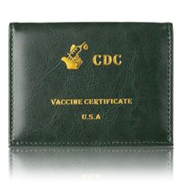 Vaccination Card Holder PU Leather Vaccinated Cards Protector Multicolor Double-Side Transparent Protective Pocket
