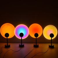 Dropship Sunset Projector Lamps 180 Degree Rotation Rainbow Sun Mode Night Light USB Romantic Projection Lamp for Party Theme Bedroom Decor JH08