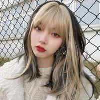 Perruque femelle cheveux longs jennie même style golden franges doré bangs bandes dessinées célébrité naturelle fluffy lolita perruque