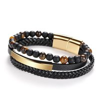 Link, Chain Multi Layer Leather Woven Bracelet Men's Punk Handmade Alloy Magnetic Buckle Handle Stainless Steel