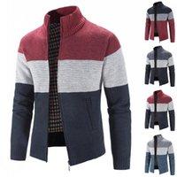 Men's Sweaters Zipper Sweater Stand Collar Men Color Block Long Sleeve Coat Full Zip Jacket Winter Vintage Warm Kintwear Tops
