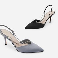 Spring Summer Women Pumps Chain Diamond Pointed Toe High Hee...