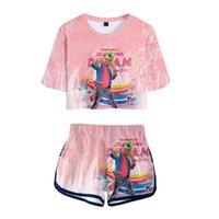 Fashion 3D JOJO SIWA Exposed Navel T-shirt+Shorts Women's Two-piece Sets Fashion Summer Casual Girl's Two-piece Pink Clothing X0428