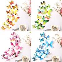 12 unids 3d calcomanías coloridas mariposas pegatinas de pared habitación de casa decoración niños OWEE5921