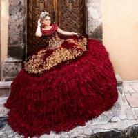 Burgundy Quinceanera Abiti Gold Ricamo Ricamo Appliques Appliques Corsetto Compleanno Vestidos de 15 Años Court Train Dolce 16 Prom Dress